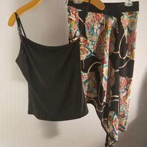 Bebe Spanish print Salsa Dance style skirt and top